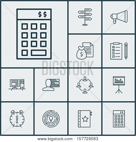 Set Of Project Management Icons On Announcement, Time Management And Warranty Topics. Editable Vecto