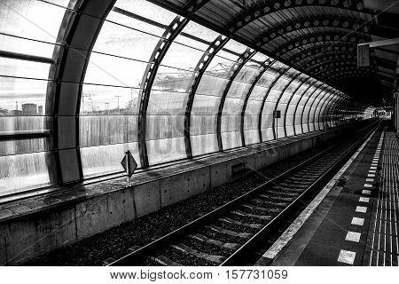 Railway or railroad tracks for train transportation.