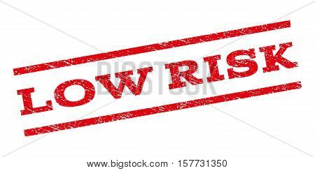 Low Risk watermark stamp. Text caption between parallel lines with grunge design style. Rubber seal stamp with dust texture. Vector red color ink imprint on a white background.