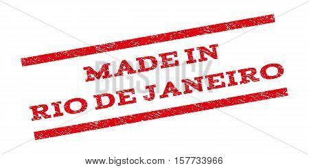 Made In Rio De Janeiro watermark stamp. Text caption between parallel lines with grunge design style. Rubber seal stamp with scratched texture. Vector red color ink imprint on a white background.