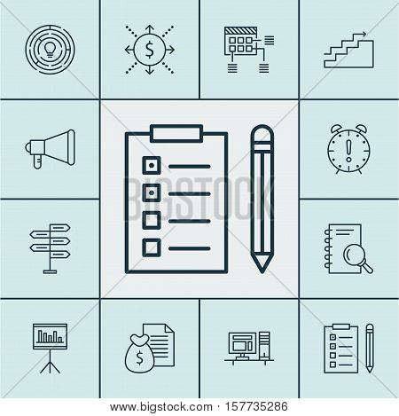 Set Of Project Management Icons On Innovation, Announcement And Report Topics. Editable Vector Illus