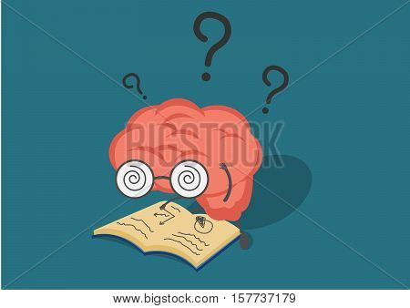 vector cartoon brain read book in fell confused.Can represent a significant business developments such as thinking learning practice.