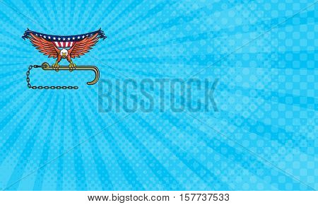 Business card showing Illustration of an american bald eagle looking to the side clutching with its talon a towing j hook draped with usa american flag with chains under done in retro style style.