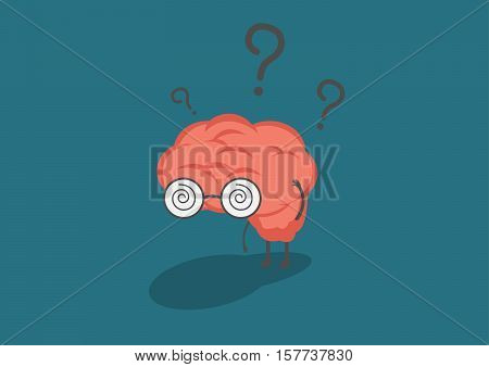 vector cartoon brain in fell confused.Can represent a significant business developments such as thinking learning practice.