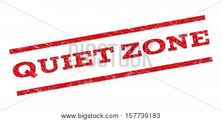 Quiet Zone watermark stamp. Text tag between parallel lines with grunge design style. Rubber seal stamp with scratched texture. Vector red color ink imprint on a white background.