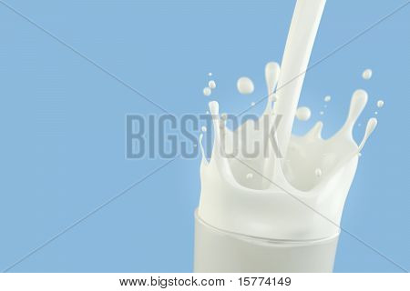 Splashing milk in a glass with light blue