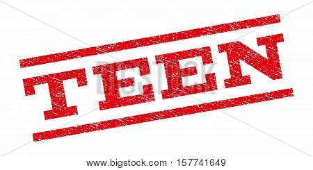 Teen watermark stamp. Text caption between parallel lines with grunge design style. Rubber seal stamp with dirty texture. Vector red color ink imprint on a white background.