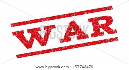 War watermark stamp. Text tag between parallel lines with grunge design style. Rubber seal stamp with unclean texture. Vector red color ink imprint on a white background.