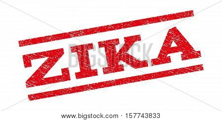Zika watermark stamp. Text caption between parallel lines with grunge design style. Rubber seal stamp with dust texture. Vector red color ink imprint on a white background.