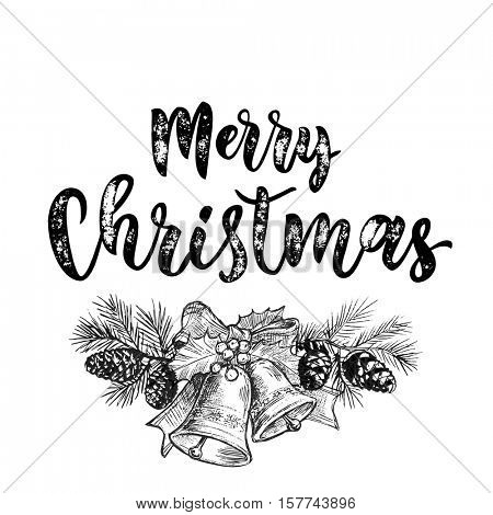 Merry Christmas jingle bells. Christmas bell ornament decoration with holly bow tie on fir and pine garland with cones. Christmas greeting modern trend card, poster lettering