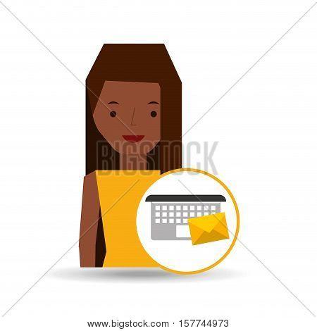 girl cartoon email envelope laptop vector illustration eps 10