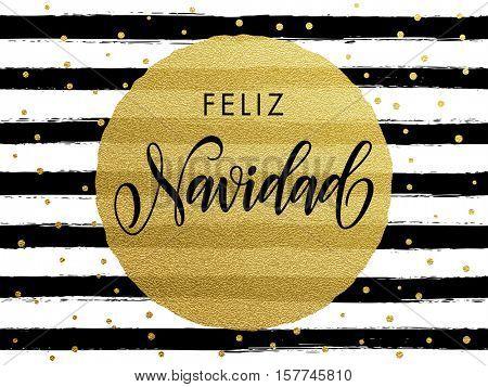 Merry Christmas Feliz Navidad Spanish text. Gold glitter gilding greeting card. Vector black stripes, snowflakes, golden glittering circle ball ornament. Calligraphy lettering modern trend