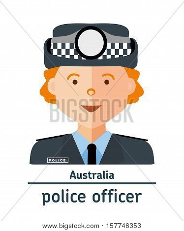 Avatar Australia police officer on white background. Flat design.  Avatar for app