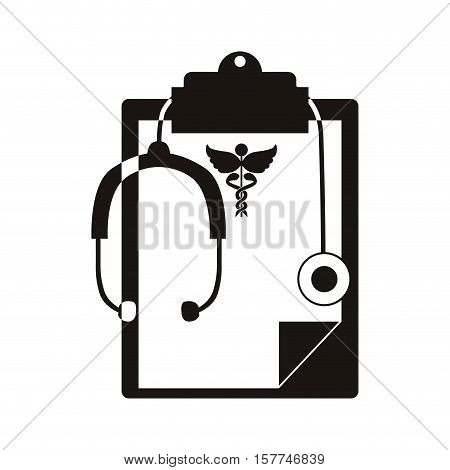 silhouette table notepad with sheets stethoscope medical vector illustration