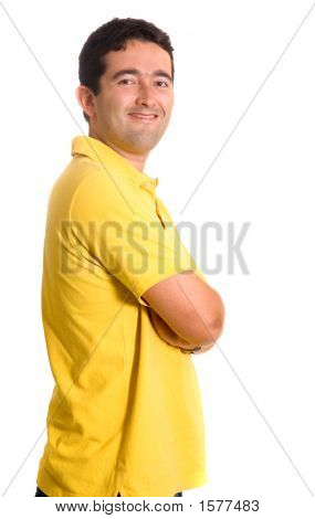 Casual Guy In Yellow Clothes