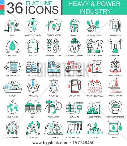 Vector Heavy and power industry flat line outline icons for apps and web design. Heavy power industry high technology icons