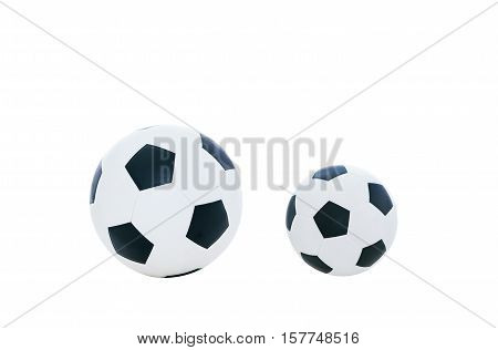 Comparative big and small football. Comparison concept. Isolated on white background.