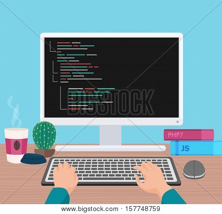 Man programmer hands working on his PC computer. Coding and programming. Head monitor view vector illustration