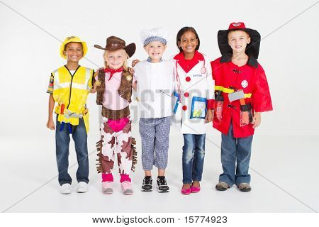 group of children dressing in various uniforms