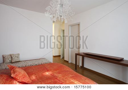 Interior house, bedroom view corridor and port