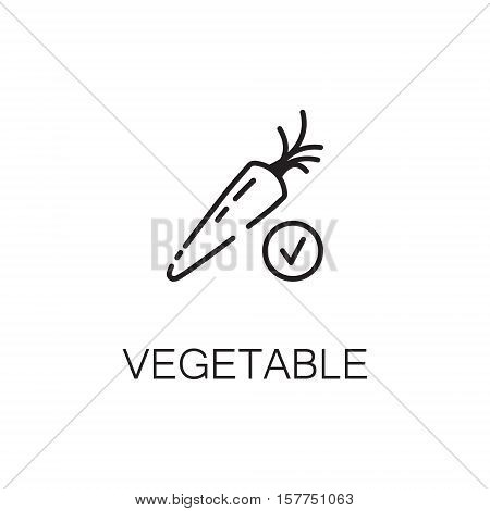 Carrot flat icon. Single high quality outline symbol of vegetable for web design or mobile app. Thin line signs of weight for design logo, visit card, etc. Outline pictogram of carrot