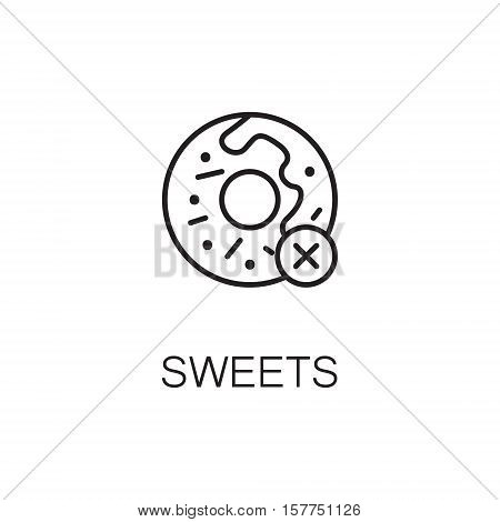 Sweets flat icon. Single high quality outline symbol of sweet food for web design or mobile app. Thin line signs of sweet for design logo, visit card, etc. Outline pictogram of donut