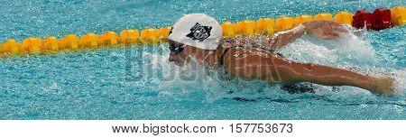 Hong Kong China - Oct 29 2016. Hungarian Olympic world and European champion swimmer Katinka Hosszu swimming butterfly. FINA Swimming World Cup Preliminary Heats Victoria Park Swimming Pool.