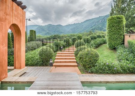The Vintage Outdoor Spiral Staircase with nature