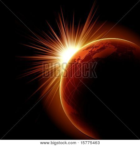 Image of a solar eclipse. Illustration on a dark background