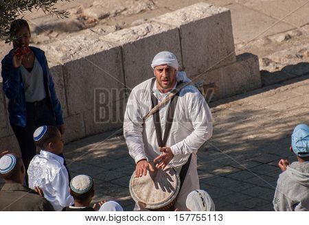 JERUSALEM, ISRAEL - JANUARY 20, 2011: Bar Mitzvah ritual at the Wailing wall  in Jerusalem, Israel.Bar Mitzvah is Jewish coming of age rituals.