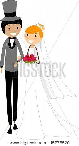 Illustration of a Newlywed Interracial Couple