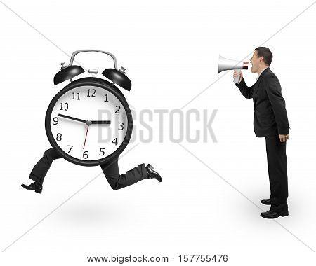 Man Using Megaphone Shouting Running Clock With Human Legs