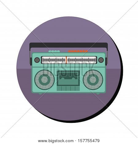 radio stereo with tape player in round frame vector illustration
