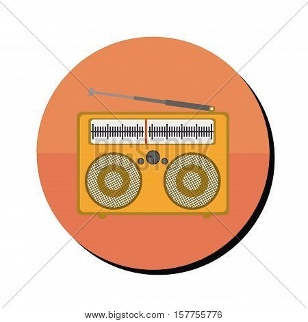 radio stereo portable in round frame vector illustration