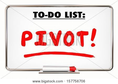 Pivot. Change. Adapt. Business Model. Rethink. Writing Word 3d Illustration
