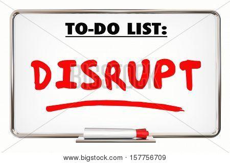 Disrupt. Change. New Idea. Innovation. Writing Word 3d Illustration