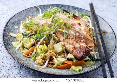 Chicken Teriyaki with Yakisoba Noodles and Vegetable on Plate