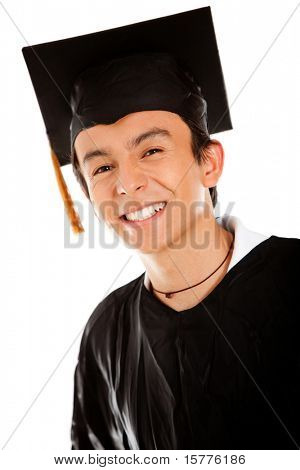 Male graduate wearing a gown and mortarboard - isolated over white