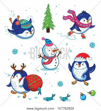Cute hand drawn penguins set. Cartoon Penguin skating, slides, carries a fish in a bag, put on Santas beard. Merry Christmas and New Year illustration. Cartoon Christmas character set.