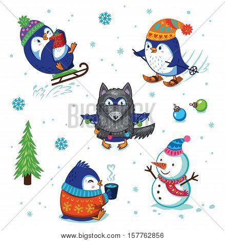 Cute hand drawn penguins set. Cartoon Penguin sledding, skiing, dressed in a wolf costume. Merry Christmas and New Year illustration. Cartoon Christmas character set.