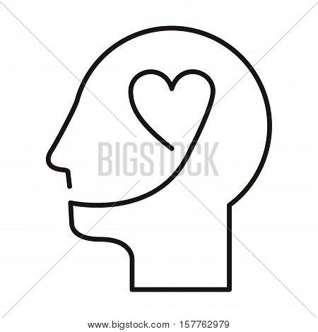 black silhouette head with heart vector illustration