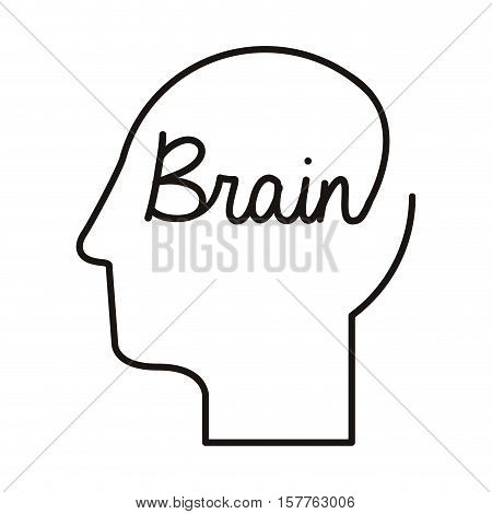 black silhouette head with word brain vector illustration