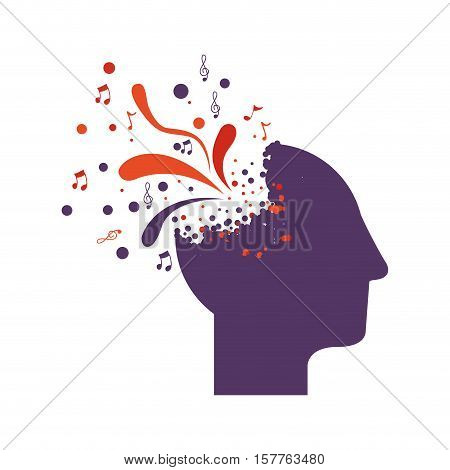 purple silhouette profile human head with colorful explosion vector illustration