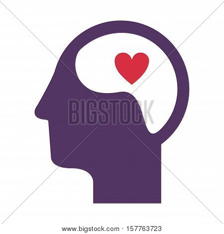 purple silhouette head and human brain with heart vector illustration