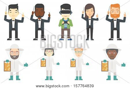 Orchestra conductor directing with baton. Man conducting an orchestra. Beekeeper in protective suit holding a framework in hand. Set of vector flat design illustrations isolated on white background.