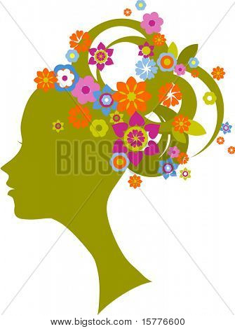 silhouette of the woman with flower