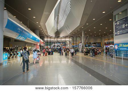 Osaka, Japan - November 2016: Entrance area around Terminal 1 of  Kansai International Airport (KIX), Osaka, Japan. Kansai Airport is one of the busiest airports in Japan and an Asian hub, with 780 weekly flights to Asia and Australasia.