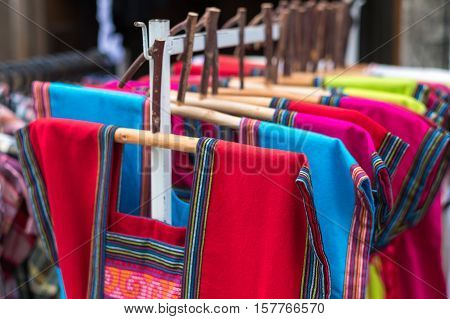 Thai colorful lanna traditional cloths, Cloth handicraft (hand-woven) colorful hill-tribe in northern Thailand.