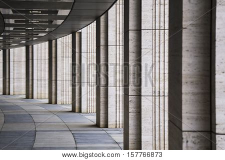 Long tunnel with columns made from vulcanic tuff