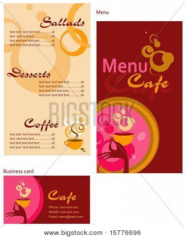 Template designs of menu and business card for cafe, coffee shop and restaurant
